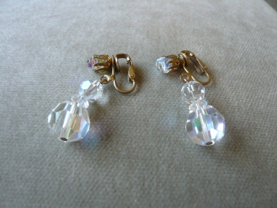 Vintage Aurora Borealis Crystal Bead Drop Earrings