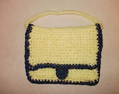 Yellow and Blue Crochet Hand Bag, Purse