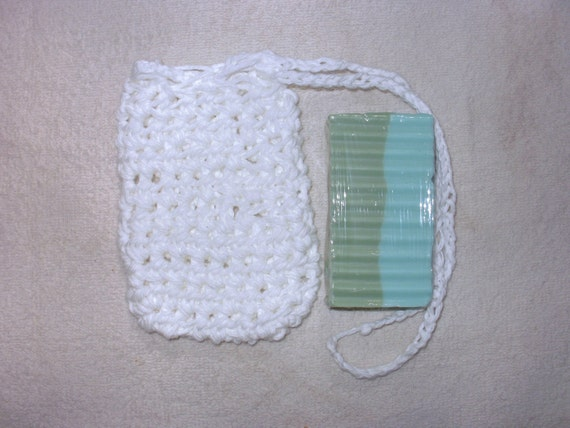 Crochet Cotton Soap Saver Sack on a rope - White