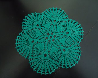 Handmade Crochet Doily in Green Measuring 9.25 inches