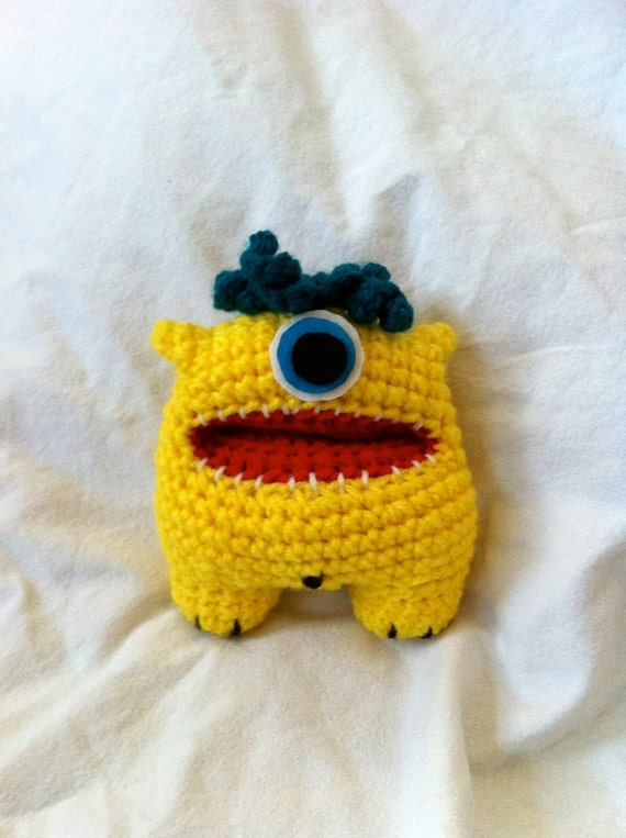 yellow crochet monster amigurumi -Bobby