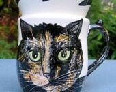 Custom Handmade Tortoiseshell Cat Cup