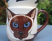 Siamese Cat Cup -Custom handmade by Nina Lyman of Cats By Nina