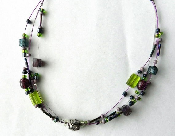 4 strand necklace purple and green