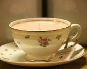 Rose Floral-Light Pink-Cinnamon Vanilla- Tea Cup Candle