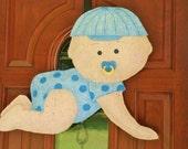 Crawling Baby Boy Burlap Door Hanger
