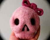 Needle Felted Pink Skull with Bow