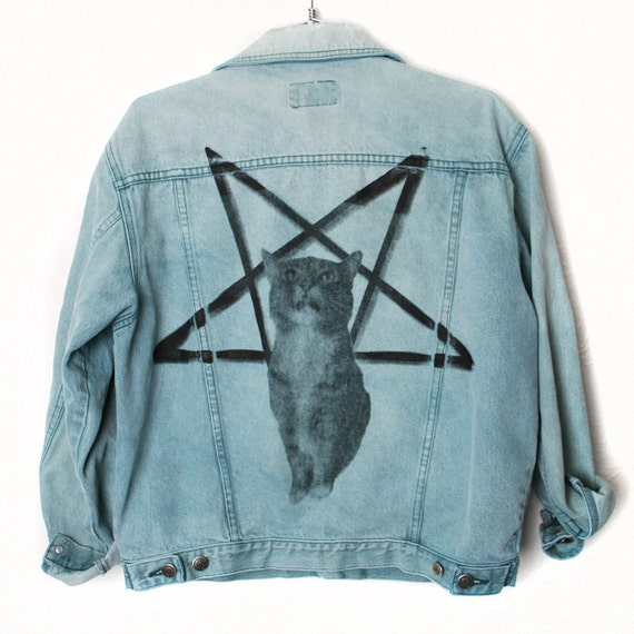 Faded Denim Grunge Jacket With Lucifurr Print on Back, Burger and Friends Collab