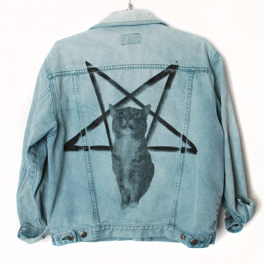 Faded Denim Grunge Jacket With Lucifurr Print on Back Burger