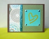 brown and turquoise heart card