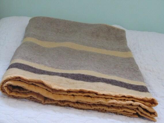 Vintage Beige Striped Wool Blanket