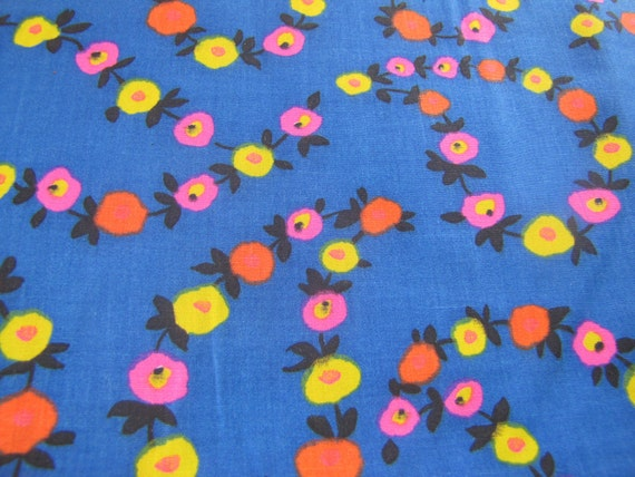 Reserved for Bekah please do not buy Vintage Blue Flower Fabric, 60s, 70s Floral Fabric, Cotton Fabric