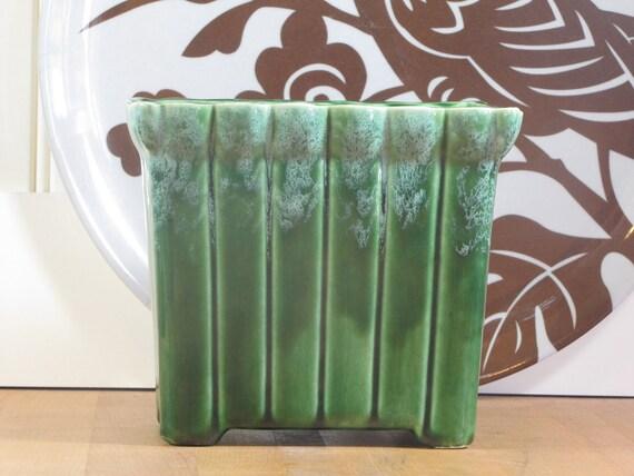 UPCO Green Planter, Green Drip Planter, Green Brush Planter, Roseville Ohio, Art Pottery