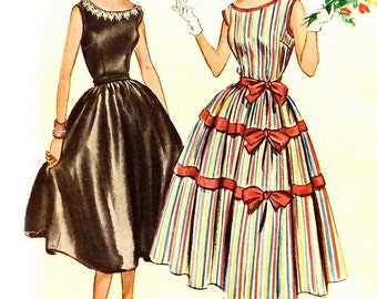 1950s Sewing Pattern - Party Dress with Full Skirt & Nipped Waist - Bust 30