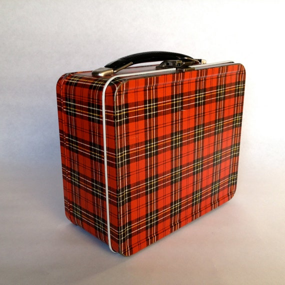 Vintage 60s Metal Lunchbox // Retro Purse in Red Plaid