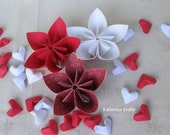 Origami Flowers, Mother's Day Flowers, One Year 1st Anniversary Flowers, Red and White