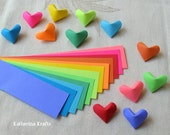SALE!!!  Origami Hearts Paper Strips, 200 count, Rainbow Multicolor