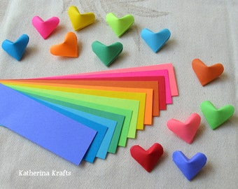 Origami Hearts Paper Strips, 100 count, Rainbow Multicolor