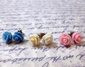 Rose Stud Earrings - You Choose Three Pair of Earrings In Your Choice of Colors