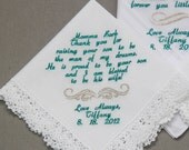 1pc Personalized Wedding Handkerchiefs Embroidered to Mother of Groom with Luxury Shinny Metal Thread ( / Monogram / Custom)