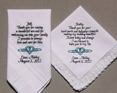 2pcs Personalized Wedding Handkerchiefs Embroidered to Father of Bride & Mother of Bride