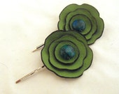 Flower bobby pins. Leather floral  green bobby pins set of 2