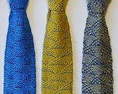 Men's Necktie, Retro, Skinny, Knitted Tie in Yellow Gold Silk and Fine Grey, Silk Wool Blend - a gift for him.