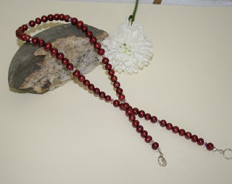 Fresh water  Pearl Necklace lovley deep red with swarovski crystals.