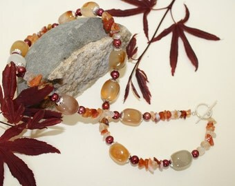 Carnelian Necklace and Fresh water pearl  lovely deep red with swarovski crystals.