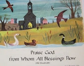 Children Music Page from Vintage Song Book - Great for Framing - Praise God