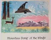 Children Music Page from Vintage Song Book - Great for Framing - Mountain Song of the Winds