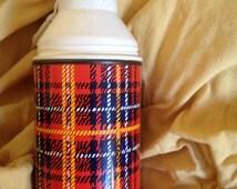 Sale: MOONRISE KINGDOM - Tartan / Plaid Thermos Flask - vintage boots