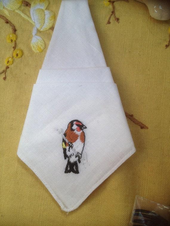 vintage mint condition embroidered bird handkerchief