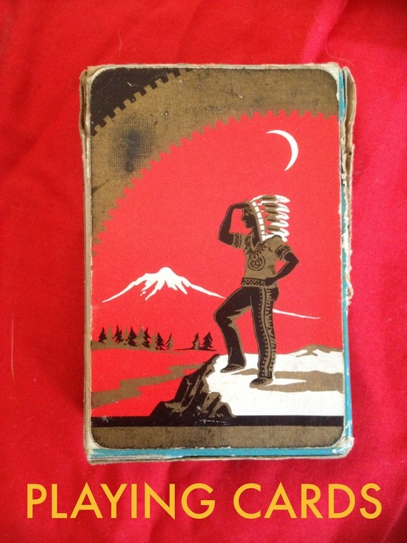 MOONRISE KINGDOM - Vintage Indian Playing Cards - red, aqua, black & gold