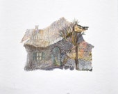 ORIGINAL drawing ilustration 5 X 5 old cottage,coloured pencils on white paper blue sepia brown gold home decor,