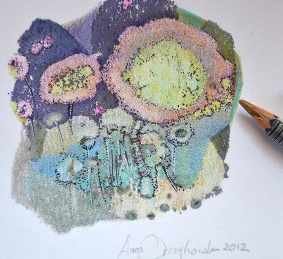 ORIGINAL mixed media drawing 5 X 5,coloured pencils and oil paint on white paper. rainbow home decor,