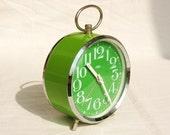 Spring green vintage alarm clock, 1980s, Czechoslovakia Prim, Fathers Day