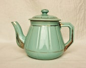 Art Deco teapot, turquoise and gold, mint blue, aqua, French coffee pot, tea pot, French kitchen, antique French pottery, French decor - FrenchCountryLife