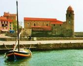 8x10 Fine Art Print, French harbor, nautical decor, France photography, sailboat, sailing, seaside decor, Collioure, Mediterranean Sea