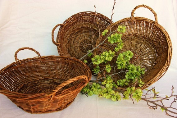 Eco friendly French baskets, hand woven, set of 3, French kitchen, French antiques, French country, shabby chic home decor