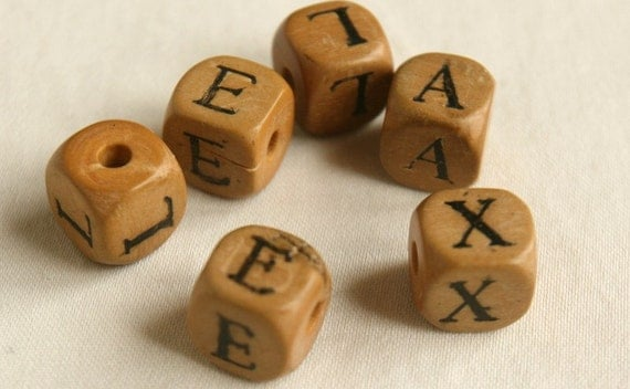 6 French vintage wood letter blocks, letters L E A X dice size wood blocks, French antique jewelry supplies, nursery letters
