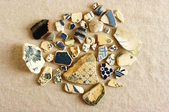 Reserved for Joy, French vintage pottery shards, blue, from rivers of France, eco friendly supplies, French country, eco chic mosaic jewelry