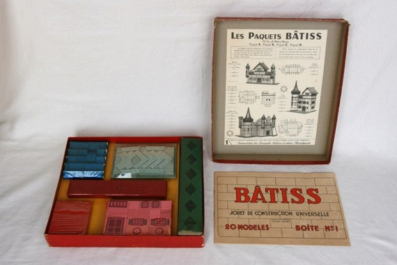 1956 NEVER USED French vintage children's building set, antique toy wooden construction set, kids room decor, Batiss, gift for him