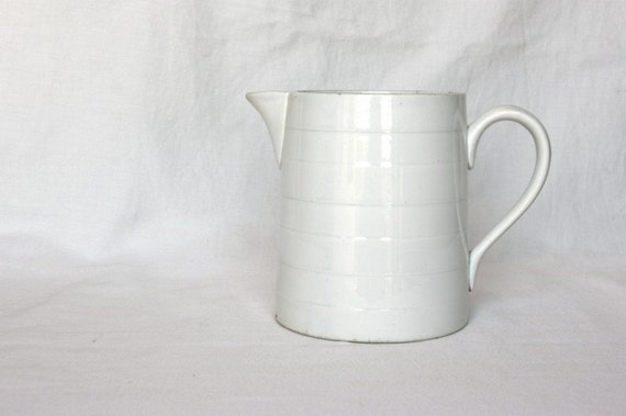 Reserved for Jessica, French country kitchen white pitcher, French farmhouse milk jug, milk pitcher, water pitcher, black and white kitchen