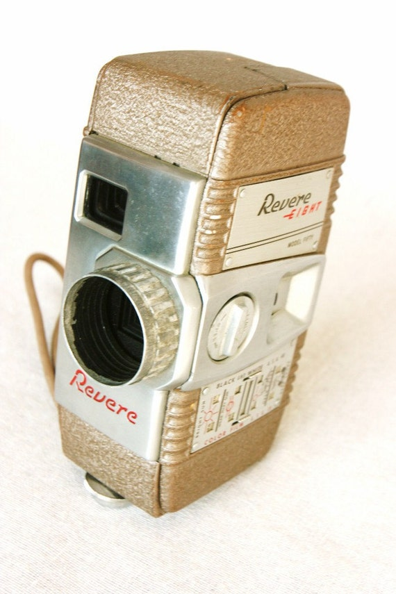 1951 vintage camera, 8mm movie camera, coffee cream colored metal, inudstrial chic, shabby chic