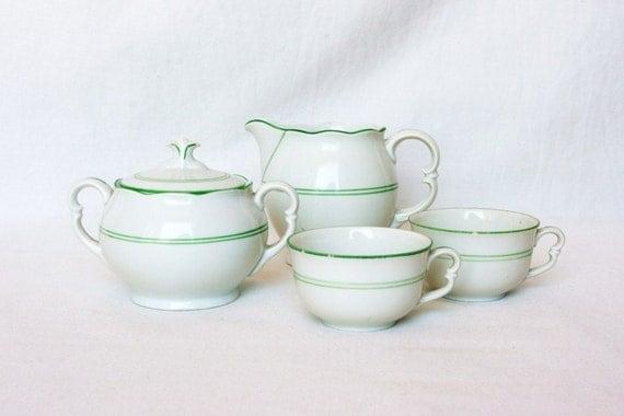 Vintage green espresso cups, espresso set, sugar and creamer, green and white porcelain tea set, Czechoslovakia, Europe cafe coffee