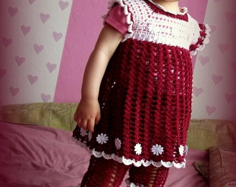 White and red crocheted Dress pants hat  for Baby Girl