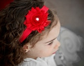 Baby Headband Toddler Headband Girls Headband Toddler Headband Shaby Vintage Look Red Flower Headband