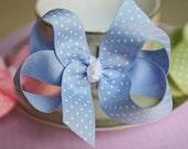 Blue Polka Dots Hair Bow Hair Clips Girls Hair Bow Toddler Hair Bow Baby Hair Bow