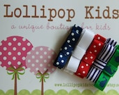 5 Piece Nautica Mixed Navy Red  White Polka Dots Stripes Hair Clips Set